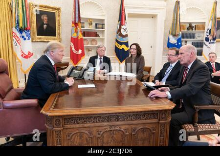 Washington, United States Of America. 31st Jan, 2019. President Donald J. Trump receives an intelligence briefing Thursday, Jan. 31. 2019, in the Oval Office of the White House. The President is joined by National Security Advisor John Bolton; Director of the Central Intelligence Agency Gina Haspel; Deputy Director of National Intelligence Integration Edward Gistaro; and Director of National Intelligence Dan Coats. People: President Donald Trump Credit: Storms Media Group/Alamy Live News - Stock Photo