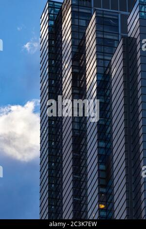 Abstract architectural detail with vertical and diagonal lines, Heron Tower, Bevis Marks, City of London - Stock Photo