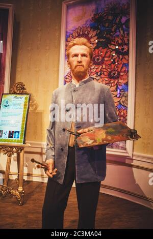 London, United Kingdom - August 24, 2017: Vincent Willem van Gogh in Madame Tussauds wax museum in London - Stock Photo