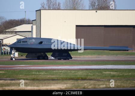 A USAF Northrop Grumman B-2 Stealth Bomber preparing for take off during an exercise at RAF Fairford, UK - Stock Photo