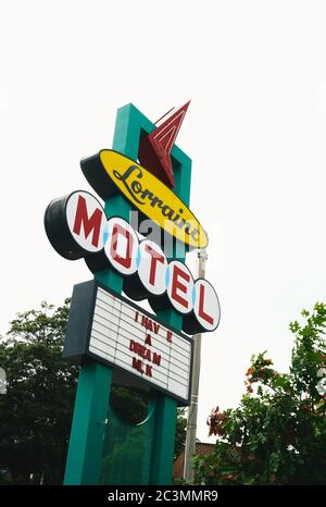 Memphis, Tennessee, United States - July 20 2009: Lorraine Motel Memorial Sign, the Place of the Assasination of Dr. Martin Luther King and Civil Righ