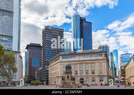 Frankfurt am Main, Germany - October 2, 2016 -  View of the Rossmarkt square with the monument of Gutenberg and skyscrapers in Frankfurt am Main, Hess - Stock Photo