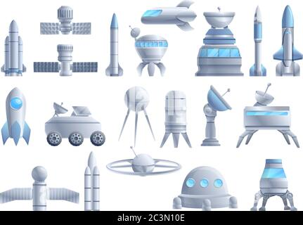 Space station icons set. Cartoon set of space station vector icons for web design - Stock Photo