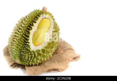 King  of fruits, Close up of yellow durian in side Mon Thong durian fruit isolated on white background, summer fruits, popular and expensive of all Th - Stock Photo