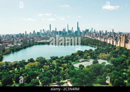 Circa September 2019: Spectacular View over Central Park in Manhattan with beautiful Rich Green Trees and Skyline of New York City