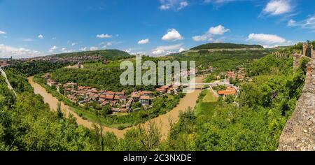 Tsarevets Fortress in Veliko Tarnovo in a beautiful summer day, Bulgaria - Stock Photo