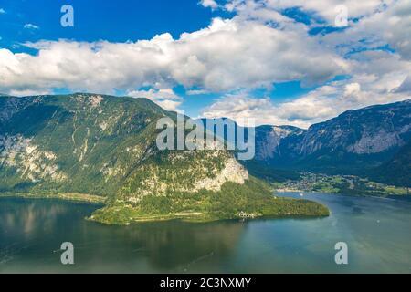 Panoramic view on Alps and lake Hallstatt, Salzkammergut, Austria in a beautiful summer day