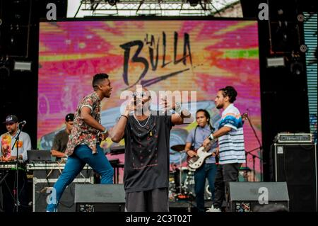 Colombian Hip Hop band, Zalama Crew perfrom at the annual Tattoo Music Fest in Bogota, Colombia. The Tattoo Music Fest is an event that gathers popula - Stock Photo