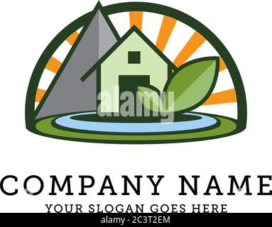nature landscape and environment logo, Eco Green friendly living creative idea concept. Vector illustration. - Stock Photo