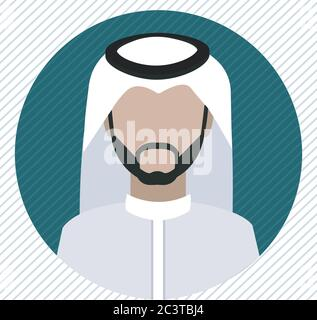 A Saudi man icon wearing shemagh and a thobe - Stock Photo