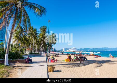 Promenade, Beach, Nha Trang, Vietnam, Asia - Stock Photo