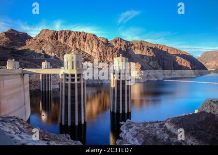 Hoover Dam And Lake Mead Panorama. Scenic wide angle view of Hoover Dam and Lake Mead on the Arizona Nevada border.