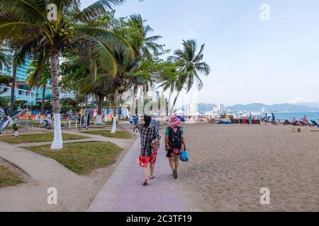 Beach promenade, Nha Trang, Vietnam, Asia - Stock Photo