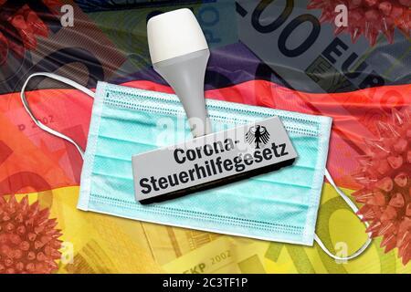 PHOTOMONTAGE, stamp and masks on Germany flag icon photo Corona Control Assistance Act, FOTOMONTAGE, Stempel und Mundschutz auf Deutschlandfahne, Symb - Stock Photo
