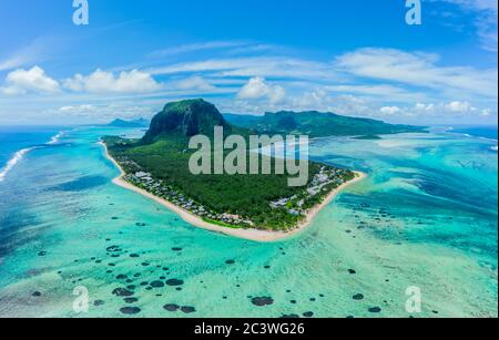 Aerial view of Le Morne Brabant, a UNESCO world heritage site.Coral reef of the island of Mauritius. panorama underwater waterfall - Stock Photo