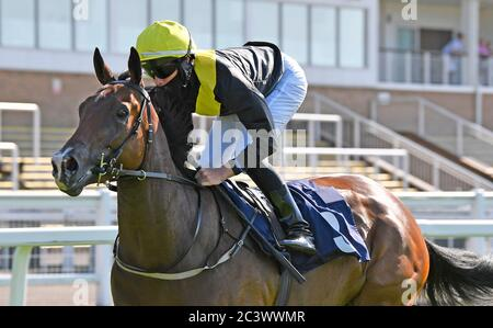 Diligent Lady and jockey Rossa Ryan wins the British Stallion Studs EBF Novice Stakes at Windsor Racecourse 22nd June 2020 at Windsor Racecourse. - Stock Photo