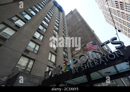 New York, NY, USA. 22nd June, 2020. A Four Points by Sheraton Hotel remains closed and boarded up as New York City enters Phase 2 of reopening during the COVID-19 pandemic on June 22, 2020 in New York. Credit: Bryan Smith/ZUMA Wire/Alamy Live News - Stock Photo
