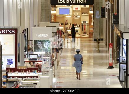 New York, United States. 22nd June, 2020. Shoppers walk through Macy's Department Store in Herald Square when New York City enters phase 2 of a four-part reopening plan after being closed for 3 months due to COVID-19 on Monday, June 22, 2020. Phase 2 officially brings back restaurants, bars, in-store retail among other things. Photo by John Angelillo/UPI Credit: UPI/Alamy Live News - Stock Photo