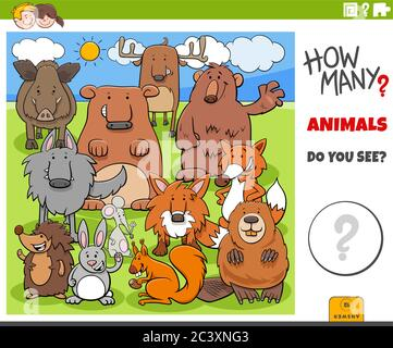Illustration of Educational Counting Task for Children with Cartoon Funny Animal Characters Group in the Wild - Stock Photo