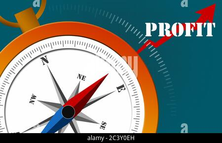 Profit word, arrow and compass,3d rendering