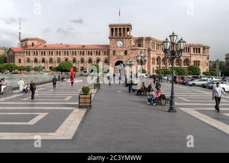 Government House of Armenia with chiming clock, Republic Square, previously Lenin Square designed during Soviet times, Yerevan, Armenia