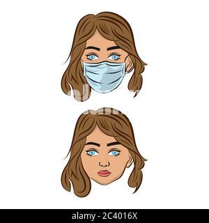 Virus, woman in white medicine mask. Coronavirus, transparent background, logo, icon.EPS 10 Stock Photo