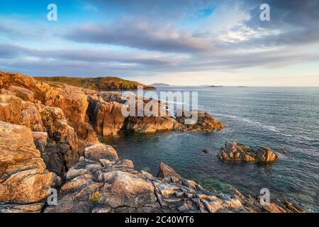 Beautiful evening light over the rugged cliffs at Hushinish on the Isle of Harris in the Western Isles of Scotland