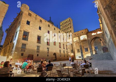 Wide angle night composition of the medieval Placa del Rei in Barcelona, Spain.