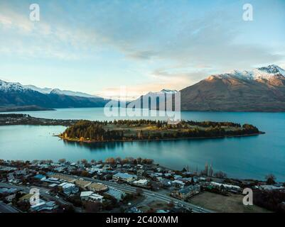 Scenic aerial view of Queenstown, New Zealand during sunrise