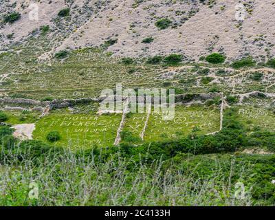 Stone art on fields near Stara Baska on island Krk in Croatia Europe - Stock Photo