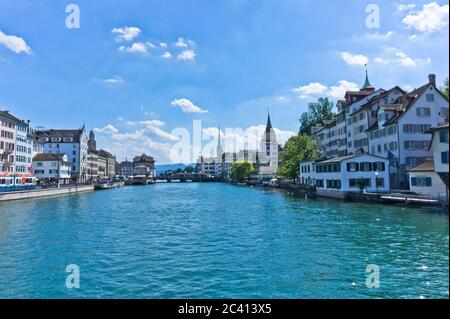 Zurich, Old city view from the lake, Switzerland - Stock Photo