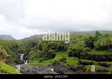 Multiple waterfalls of the Seven Sacred Pools, O'heo Gulch, in Haleakala National Park, Maui, Hawaii, USA