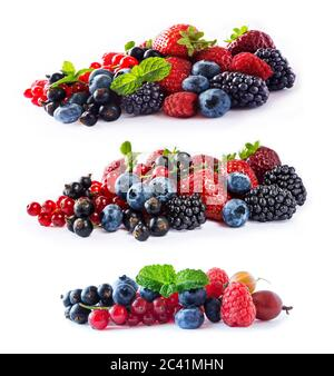 Set of fresh fruits and berries isolated a white background. Ripe blueberries, blackberries, currants, raspberries and strawberries. Berries and fruit - Stock Photo