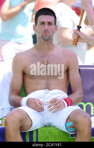 KEY BISCAYNE, FL - APRIL 01: Novak Djokovic of Serbia defeats Andy Murray of Great Britain in the men's singles final on day 14 of the Sony Ericsson Open at Crandon Park Tennis Center on April 1, 2012 in Key Biscayne, Florida. People: Novak Djokovic Credit: Storms Media Group/Alamy Live News