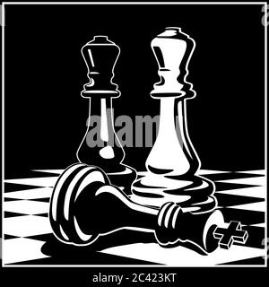 Stylized vector illustration on the theme of chess, intellectual games and conceptual illustrations of development strategies, teamwork, etc. - Stock Photo
