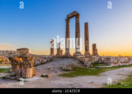 Amman, Jordan. The Temple of Hercules, Amman Citadel. Stock Photo