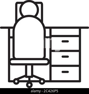 pictogram man sitting on office chair and desk over white background, line style, vector illustration - Stock Photo