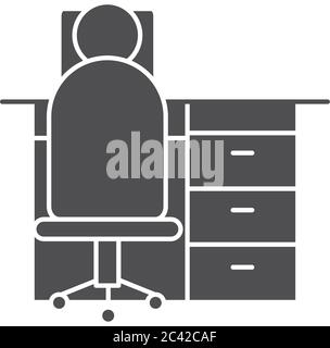 pictogram man sitting on office chair and desk over white background, silhouette style, vector illustration - Stock Photo
