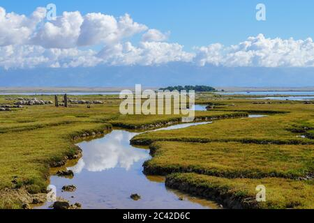 White clouds and blue sky has been reflected in the water of river. - Stock Photo