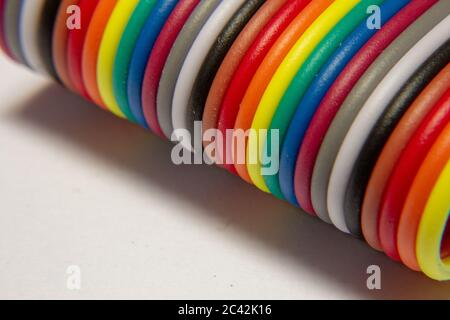 Jumper cables for arduino still glued together - Stock Photo
