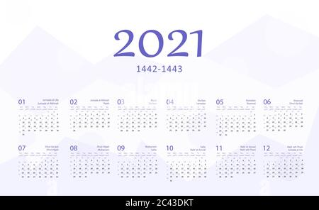 Hijri islamic calendar 2021. From 1442 to 1443 vector celebration template with week starting on sunday on simple background. Flat minimal desk and