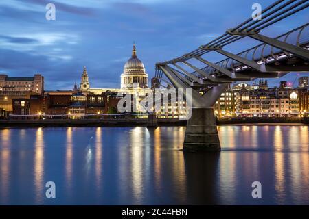 LONDON, UK - 27TH JUNE 2016: St Pauls Cathedral and Millenium Bridge at night