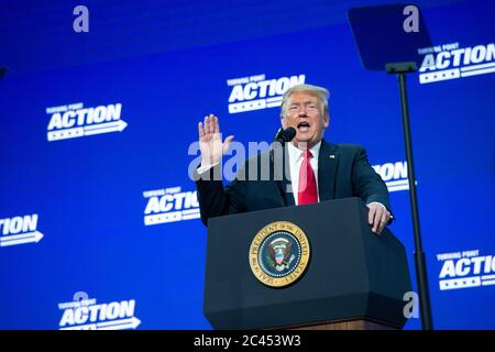 Phoenix AZ, USA. 23rd June, 2020. United States President Donald J Trump at Turning Point event at Dream City Church in Phoenix, Arizona on June 23, 2020. Credit: albert halim/Alamy Live News Stock Photo
