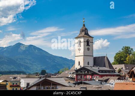 St. Wolfgang City on Wolfgangsee lake, Salzkammergut, Austria in a beautiful summer day - Stock Photo