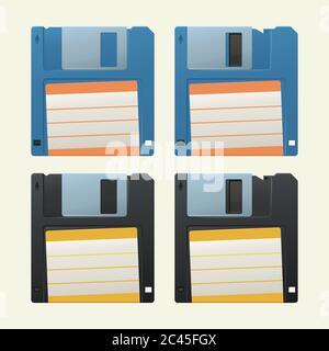 retro diskettes set on white - Stock Photo