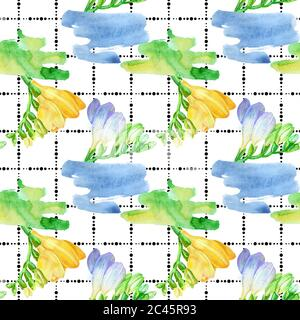 Watercolor white and violet and white freesia flower on the background of dots. Seamless background pattern.