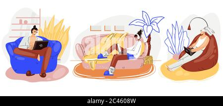 Freelance people work in comfortable cozy armchairs set vector flat illustration. Freelancer multiracial character working from home at relaxed pace - Stock Photo