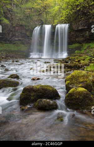 Sgwd yr Eira waterfall, Ystradfellte, Brecon Beacons National Park, Powys, Wales, United Kingdom, Europe - Stock Photo