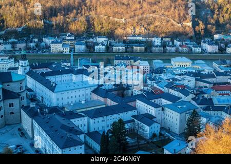 View of Salzburg Old Town and Rooftops from Hohensalzburg Fortress - Stock Photo