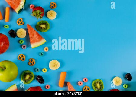 Healthy snack fresh fruits and vegetables. Healthy food concept. - Stock Photo